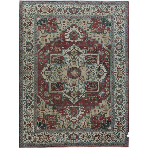 Oriental Hand-Knotted Wool Red/Ivory Area Rug