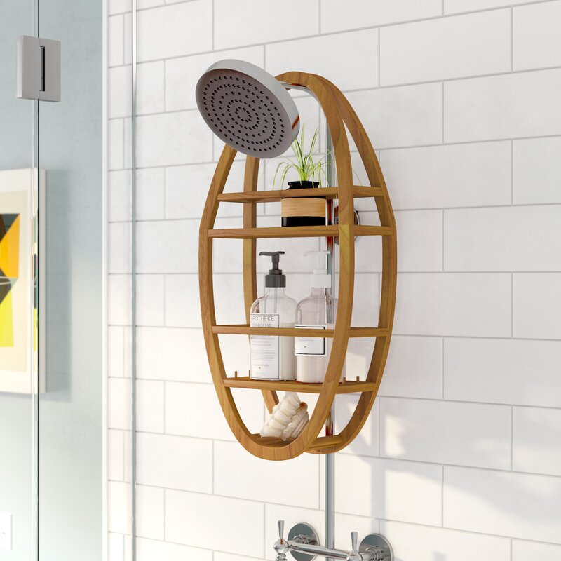Langley Street Askins Teak Shower Caddy & Reviews | Wayfair