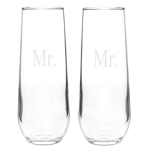 Mr. and Mr. Stemless 8.5 Oz. Champagne Flute (Set of 2) by Cathys Concepts