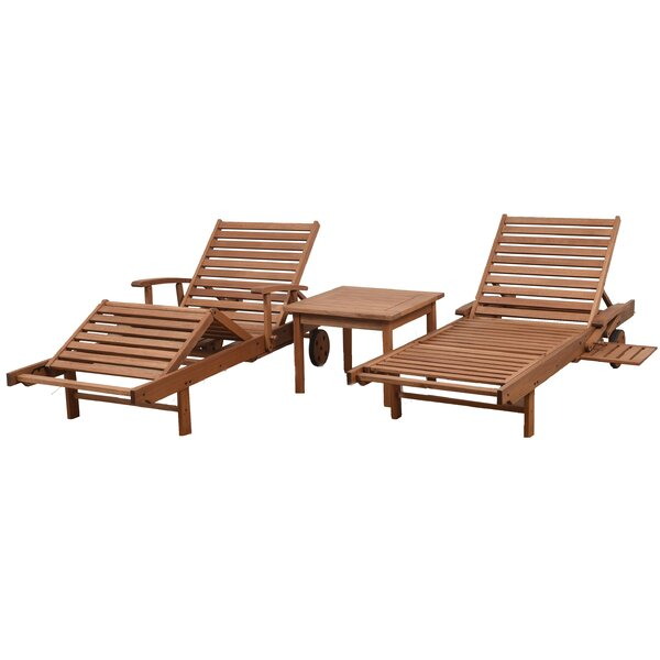 Newbury Patio 3 Piece Single Reclining Chaise Lounge Set