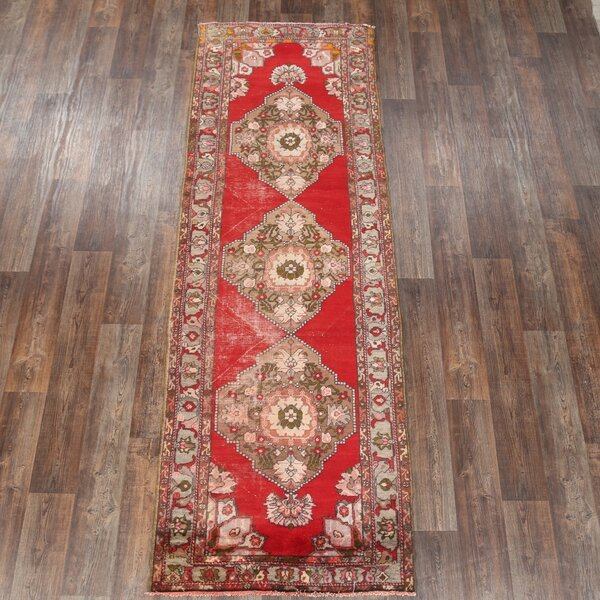 Meadville Anatolian Turkish Antique Oriental Hand-Knotted Wool Red/Burgundy Area Rug by Bloomsbury Market
