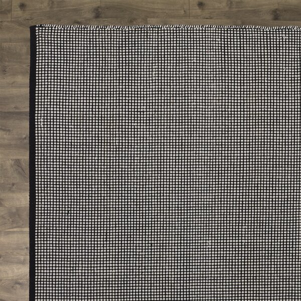 Ollie Hand-Woven Cotton Black Area Rug by Birch Lane™
