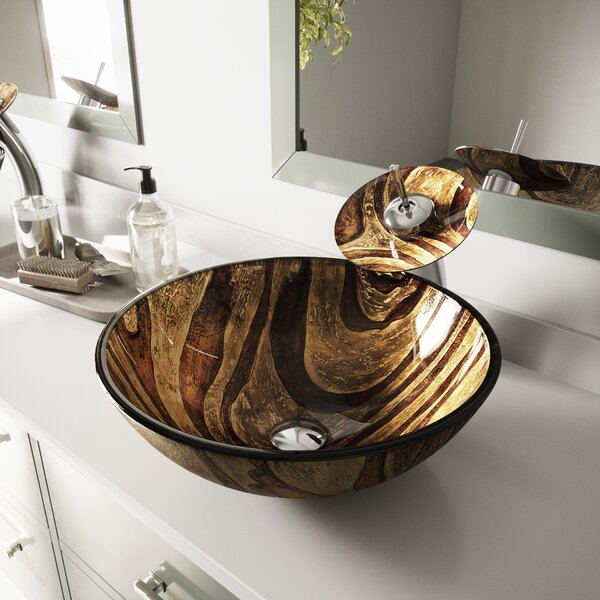Tempered Glass Sink Glass Circular Vessel Bathroom Sink with Faucet by VIGO