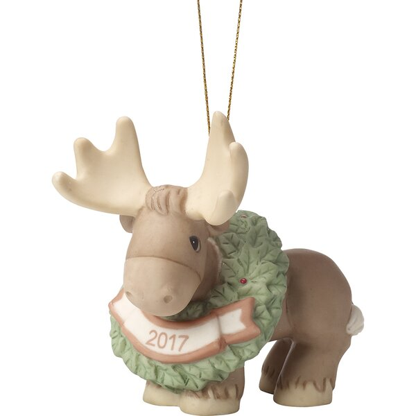 Merry Christmoose Ornament Hanging Figurine by Pre