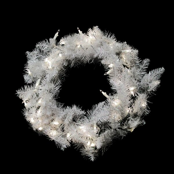 24 Lighted Artificial Sparkle Spruce Christmas Wreath by Vickerman