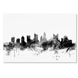 'Columbus Ohio Skyline' Graphic Art on Wrapped Canvas by Ivy Bronx