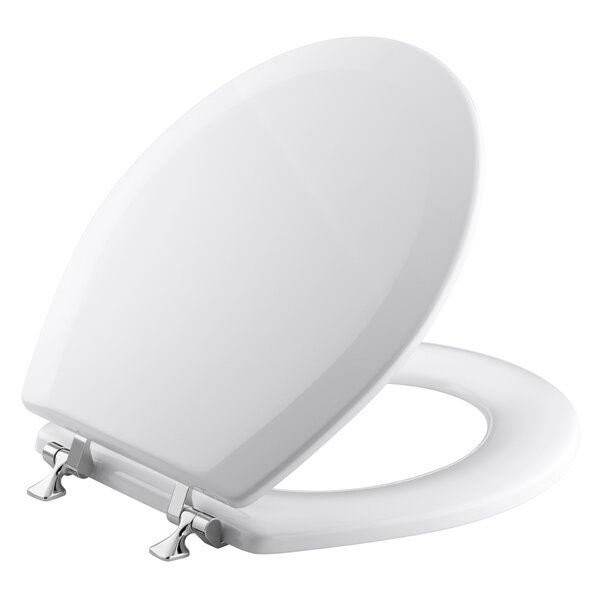 Triko Round-Front Toilet Seat with Polished Chrome Hinges by Kohler