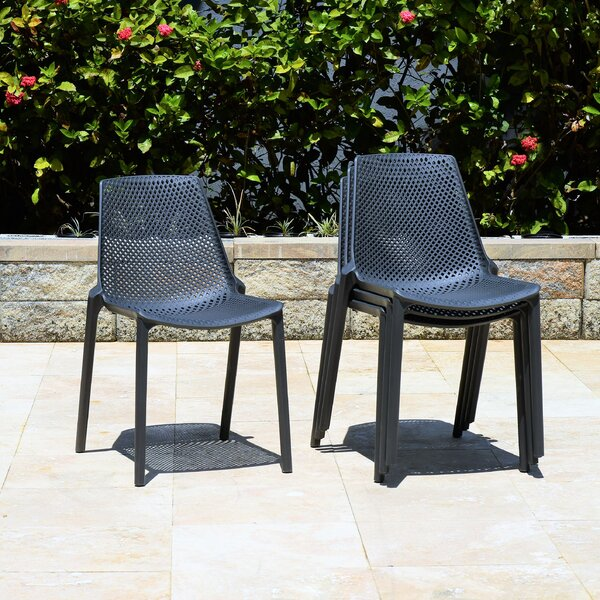 Claudio Stacking Patio Dining Chair (Set of 4) by Mercury Row