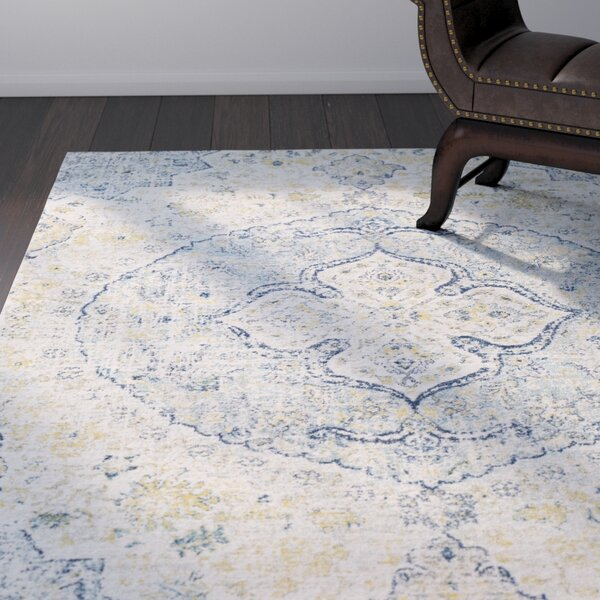 Arteaga Vintage Persian Medalion Oriental Light Blue/Beige Area Rug by Bungalow Rose