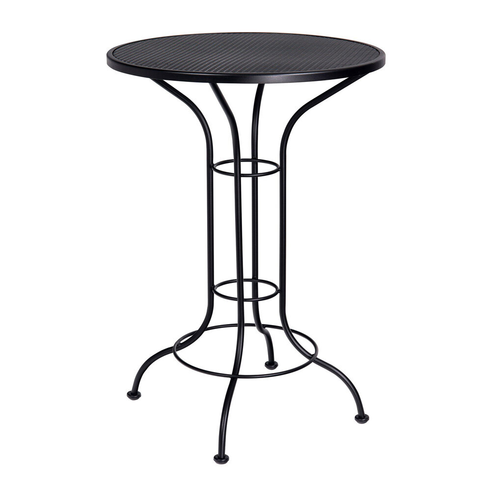 woodard bar height outdoor round mesh top wrought iron bar table
