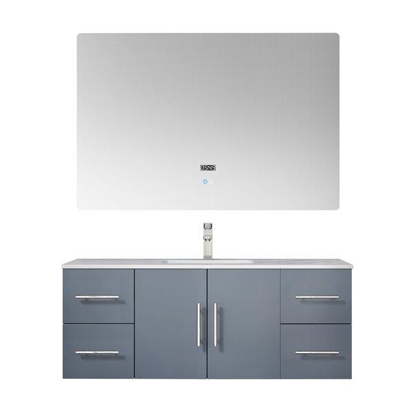 Paulden 48 Wall-Mounted Single Bathroom Vanity Set with Mirror