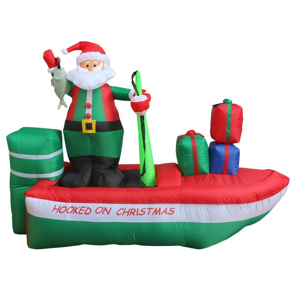 Christmas Inflatable Santa Claus Fishing Decoratio