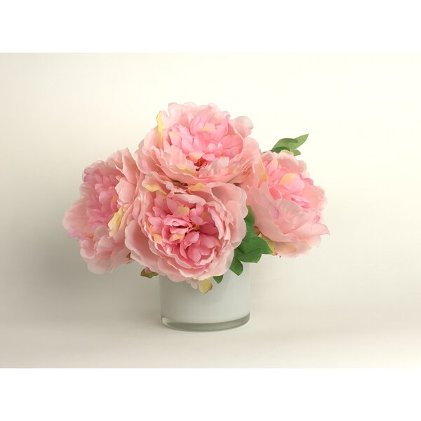 Artificial Silk Peonies Floral Arrangement in Decorative Vase by Charlton Home