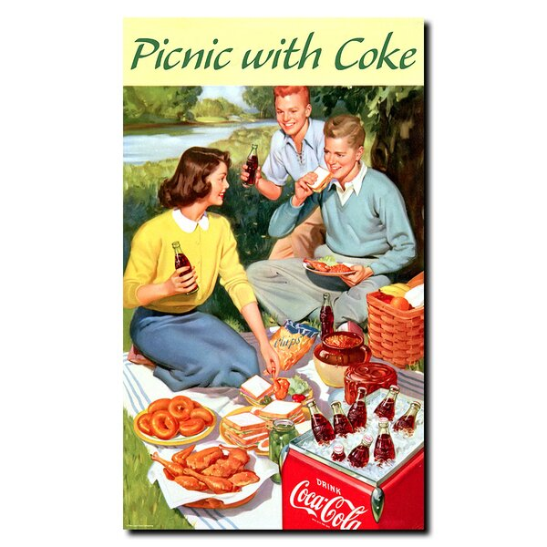 Picnic with Coke Vintage Advertisement on Wrapped Canvas by Trademark Fine Art