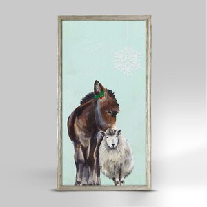 'Holiday - Festive Donkey and Sheep' Framed Acrylic Painting Print on Canvas by Wrought Studio