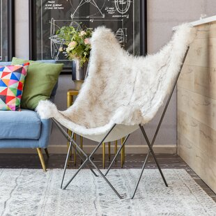 Byram Butterfly Faux Fur Cover Lounge Chair by Foundry Select