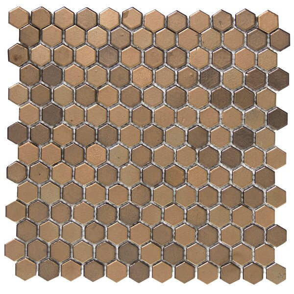 Confetti Porcelain Mosaic Tile in Bronze by Emser Tile
