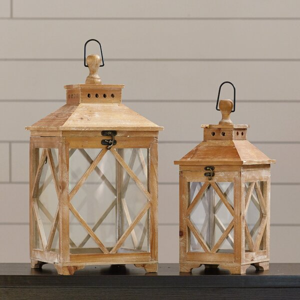 Evansville 2 Piece Wood / Glass Lantern Set by Loon Peak