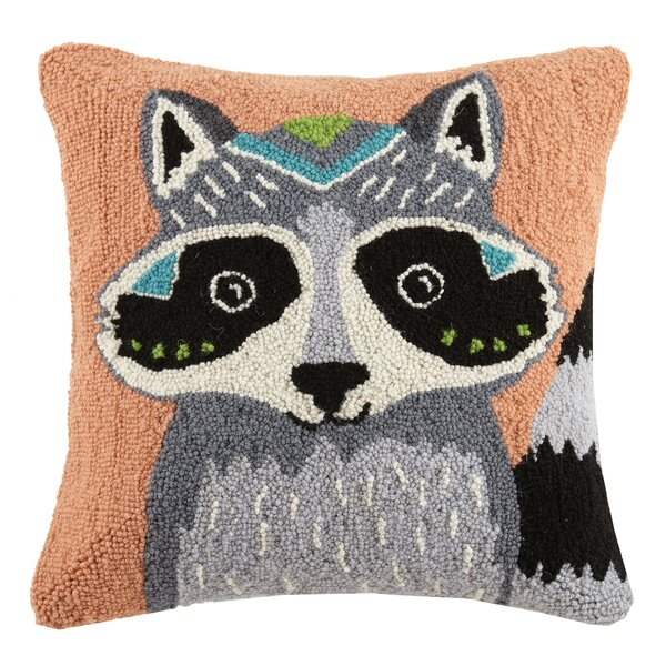 Boho Raccoon Animal Hook Wool Throw Pillow by Peking Handicraft