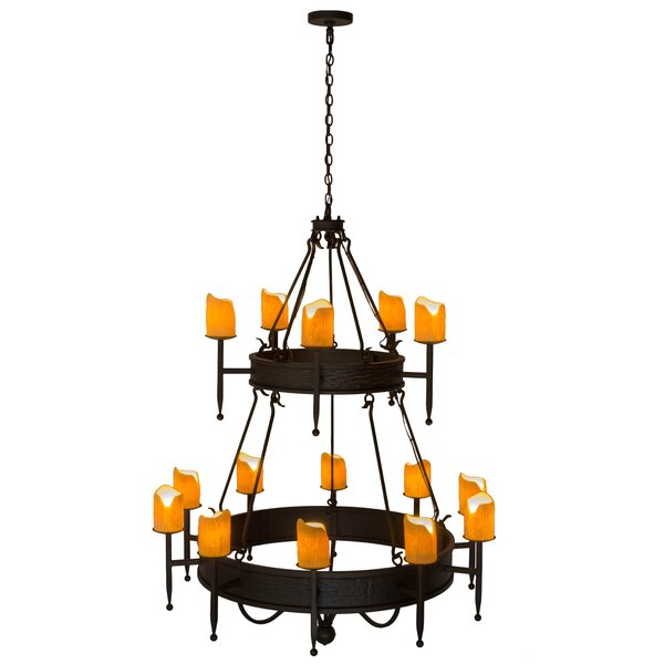 Bayne 15 - Light Candle Style Wagon Wheel Chandelier With Crystal Accents By Fleur De Lis Living