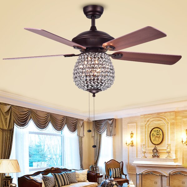 52 Spalding Crystal Basket 5 Blade Ceiling Fan by House of Hampton