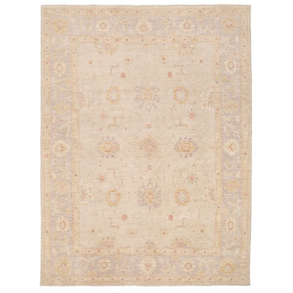 Vegetable Dye Hand-Knotted Ivory/Gray Area Rug by Herat Oriental