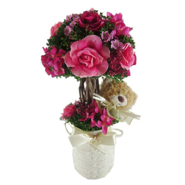 Rose with Teddy Floral Arrangement in Ceramic Container by Red Vanilla