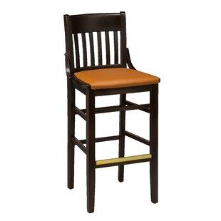 Amoroso Beechwood School House Upholstered Seat Bar Stool