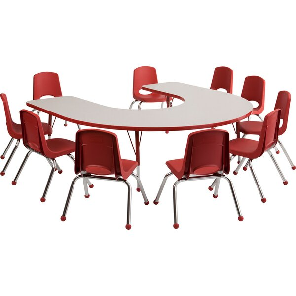 10 Piece Horseshoe Activity Table & 10 Chair Set b