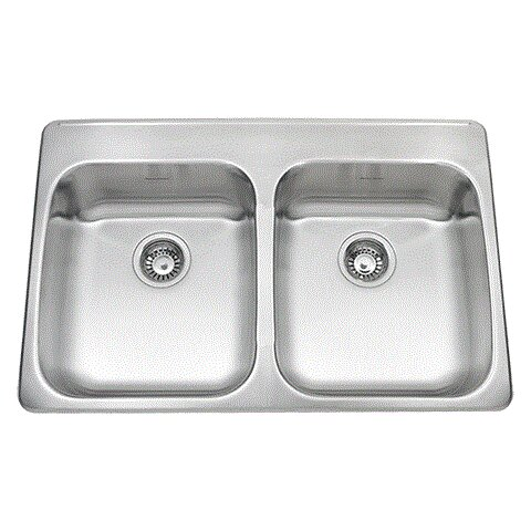Ada 33 L x 22 W Double Bowl Back Ledge Kitchen Sink by American Standard