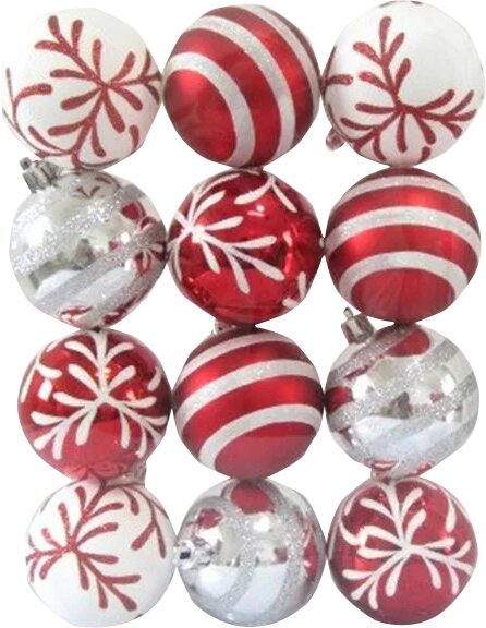 Red and White Ball Ornament with Snowflake and Line Glitter Design (Set of 2) by Andover Mills