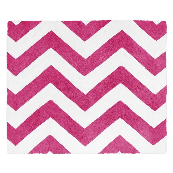 Chevron Hot Pink / White Area Rug by Sweet Jojo Designs