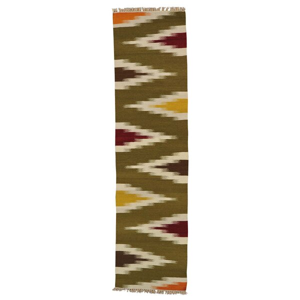 One-of-a-Kind Hoffman Eye Dazzle Hand-Knotted Wool Green Area Rug by Bloomsbury Market
