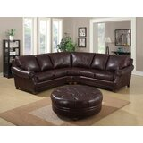 Adira Symmetrical Leather Sectional with Ottoman by Darby Home Co