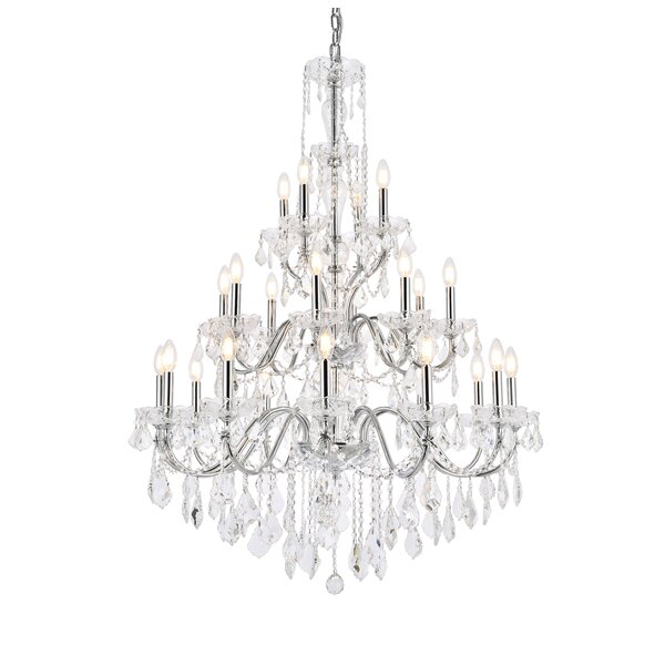 Thao 24 - Light Candle Style Tiered Chandelier with Crystal Accents by Rosdorf Park Rosdorf Park