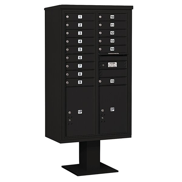 Pedestal Mounted 15 Units 18 Door Front Load 4C Horizontal Cluster Box Unit with 2 Parcel Lockers by Salsbury Industries