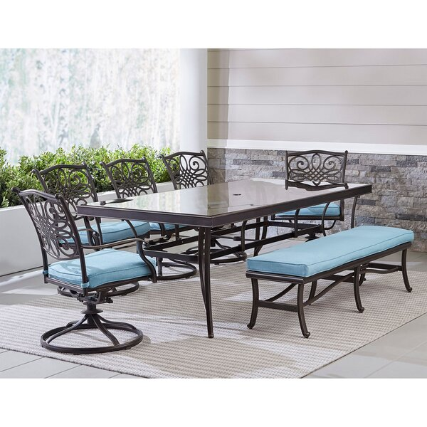Carleton Outdoor 7 Piece Dining Set with Cushions by Fleur De Lis Living