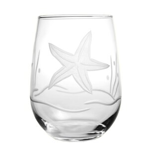 Starfish 17 oz. Stemless Wine Glass (Set of 4)