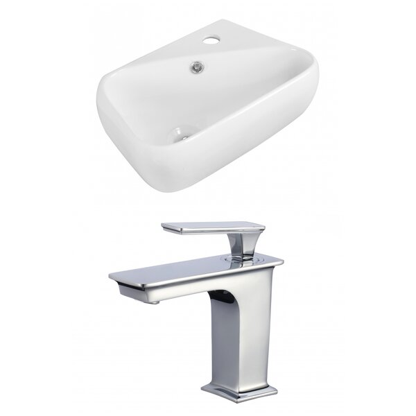 Ceramic 6 Wall Mount Bathroom Sink with Faucet and Overflow by American Imaginations