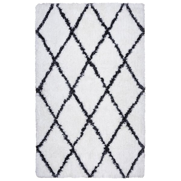 Beesley Hand-Tufted White/Black Area Rug by Ivy Bronx