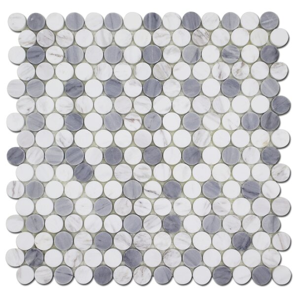 Penny 0.75 x 0.75 Straight Edge Natural Stone Mosaic Sheet Floor Use Tile