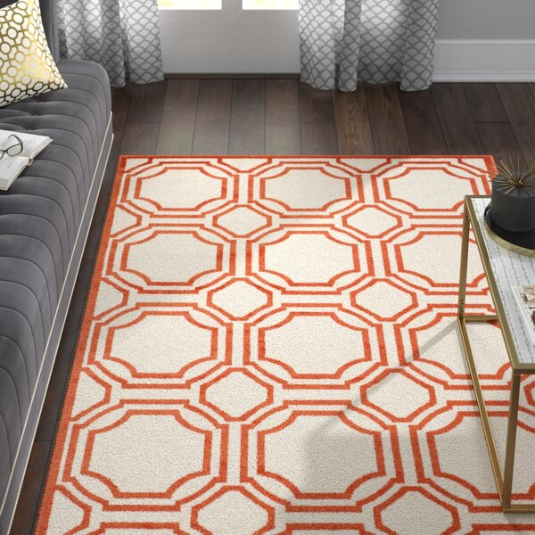 Maritza Ivory/Orange Indoor/Outdoor Area Rug by Willa Arlo Interiors