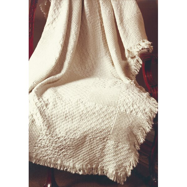 Textured Blocks Natural 2 Layer Cotton Throw by Manual Woodworkers & Weavers