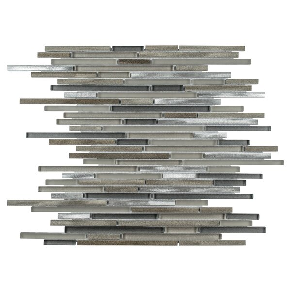 Commix Brushed Random Sized Aluminum/Glass Mosaic Tile in Brown/Gray by EliteTile