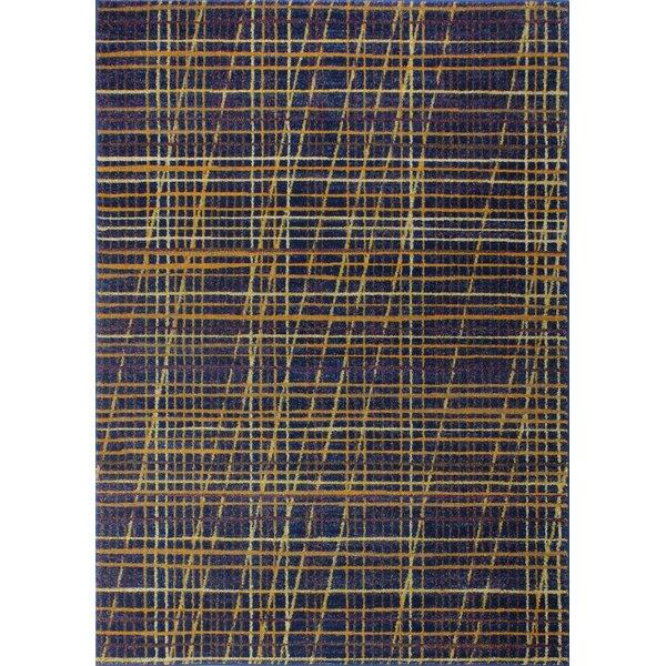 Bessler Navy/Yellow Area Rug by Ebern Designs