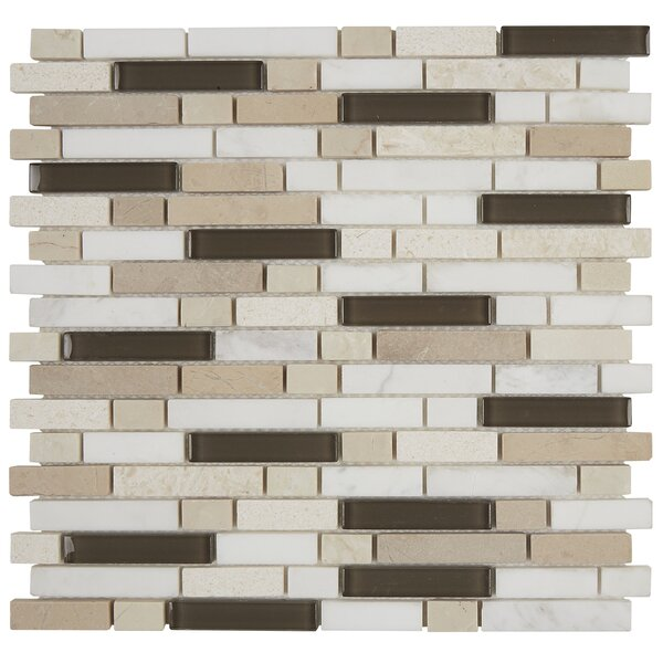 Quincy Random Sized Mixed Material Mosaic Tile in Kinetic Khaki Blend by Itona Tile