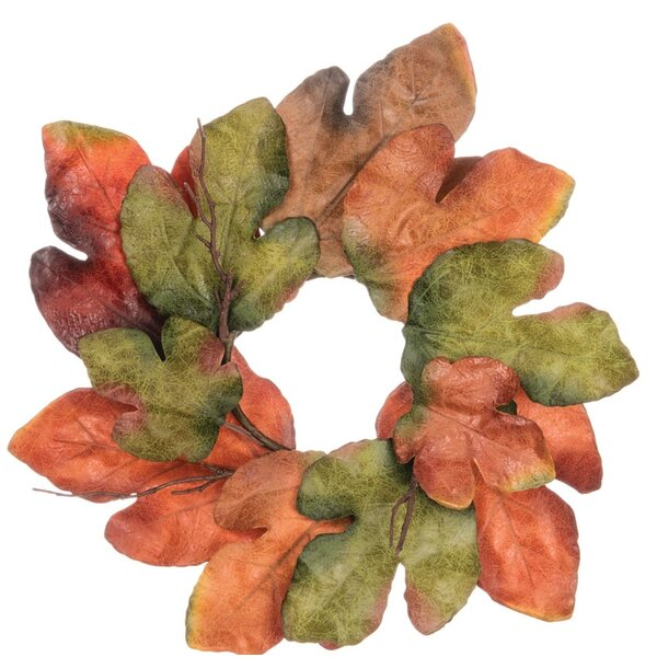 Large Leaf Accent 4 Polyester Wreath (Set of 2) by Millwood Pines