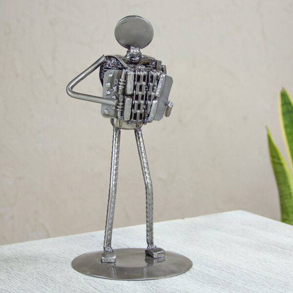 Rustic Accordion Recycled Auto Part Figurine by Novica
