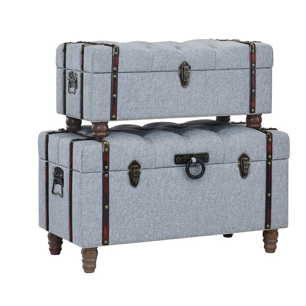 Keystone Tufted Linen 2 Piece Coffee Table Set with Storage by Charlton Home