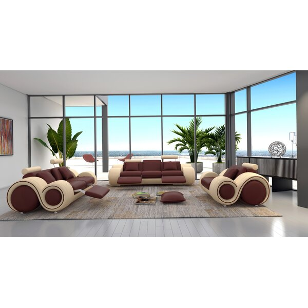 Hematite 3 Piece Leather Living Room Set by Hokku Designs